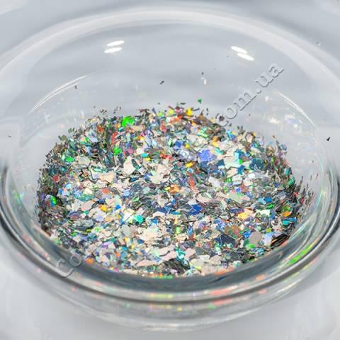 Глиттер №28 Серебро голограмма 2,5 гр.