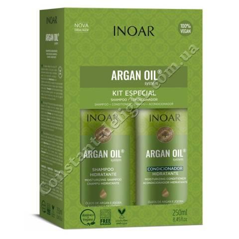 Набор для увлажнения волос и жирной кожи головы Inoar Argan Oil System Kit Especial 2x250 ml