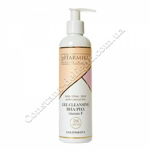 Очищающий гель для лица с РНА / ВНА кислотами и витамином F pHarmika Gel Cleansing BHA / PHA & Vitamin F 5% рН 3.0, 250 ml