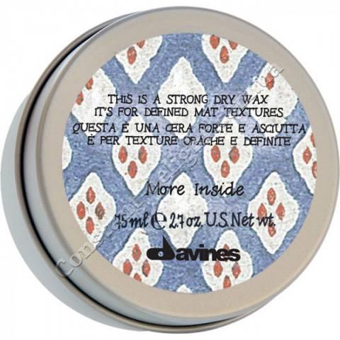 Сухой воск сильной фиксации для текстурных матовых акцентов Davines More Inside Strong Dry Hair Wax 75 ml