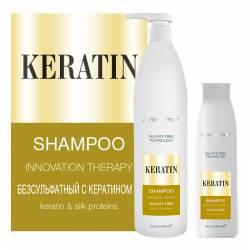Безсульфатний шампунь з кератином і протеїнами шовку Jerden Proff 300 ml