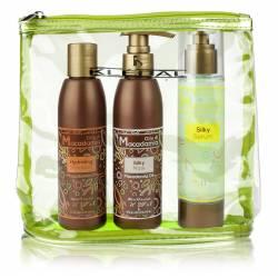 Набор с маслом макадамии (шампунь, маска, сыворотка) в косметичке Kleral System Macadamia oil line