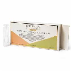Ампулы антибактериальные для лица Stop Acne с витамином В3 и наносеребром pHarmika Active Fluid Antibacterial Stop Acne Vitamin B3 & Nanosilver 10х2,5 ml