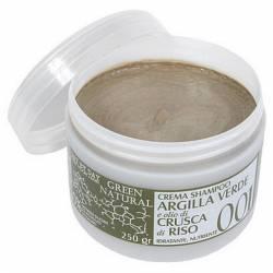 Крем-шампунь с зеленой глиной и рисовыми отрубями Alan Jey Crema Shampoo Argilla Verde E Olio Di Crusca Di Riso 250 ml