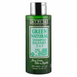 Шампунь-бальзам с маслом жожоба и алоэ вера для всех типов волос Alan Jey Green Natural 2 in1 Shampoo Balsamo 250 ml
