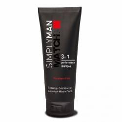 Шампунь для волос с антибактериальным эффектом Nouvelle Simply Man Performance Shampoo 3 in1, 200 ml