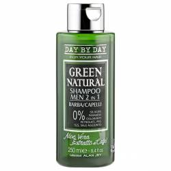 Шампунь мужской 2 в 1 для бороды и волос с алоэ вера и экстрактом кофе  Alan Jey Green Natural Shampoo 2 in 1, 250 ml