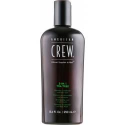 Шампунь по уходу за волосами и телом 3-в-1 Чайное дерево American Crew Tea Tree 3-in-1 Shampoo, Conditioner and Body Wash 250 ml