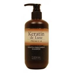 Восстанавливающий шампунь с кератином De Luxe Keratin Premium Enrichment Shampoo 300 ml